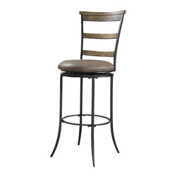 Hillsdale Furniture - Hillsdale Charleston Swivel Ladder Back Bar Stool in Desert Tan - The Charleston spindle back swivel stool features vertical spindles and a wood panel at top of for added interest. finished in desert tan and grey, this stool is handsome alone or paired with the other items in the Charleston collection.
