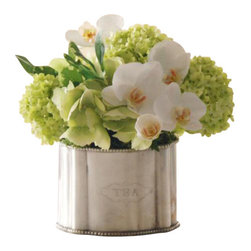 Winward Designs - Phalaenopsis Snowball In Caddy Flower Arrangement - Simple yet elegant, casually arranged phalaenopsis orchids and snowballs set in a cute silver container.