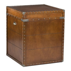 """Holly & Martin - Holly & Martin Bristol Trunk End Table X-93-3-420-740-10 - Crafted with a replicated antique look, this steamer trunk side table is ideal as a decorative, yet functional accent. Whether it's placed in your living room or bedroom, the convenient storage under the lid is sure to help clear the clutter. The rich walnut finish is accented with antique brass rivets along the trim. The lid opens with the help of progressive hinges that prevent slamming. This classic styled trunk is a great solution for your home.  - 20"""" W x 20"""" D x 23.5"""" H                                                                               - Walnut Finish                                                                                         - Antique brass hardware                                                                                - Lid opens for storage                                                                                 - Assembly required                                                                                     - Approx. weight: 50 lb.                                                                                - Materials: MDF, veneer"""