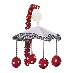 Sweet Jojo Designs - Little Ladybug Mobile - Little Ladybug  Mobile by Sweet Jojo Designs will have you putting your baby to sleep in style. When wound up this crib mobile spins and plays Brahms' lullaby. This musical crib mobile has been manufactured to fit standard sized cribs. The mobile set includes a musical mobile frame, canopy with hanging toys, and matching arm sleeve cover.