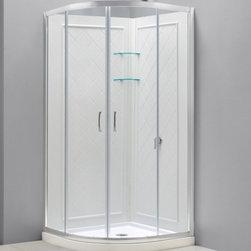 """DreamLine - DreamLine DL-6153-01CL Prime Shower Enclosure, Base & Backwalls - DreamLine Prime 34 3/8"""" by 34 3/8"""" Frameless Sliding Shower Enclosure, Base and QWALL-4 Shower Backwall Kit"""
