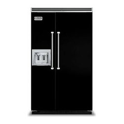 """Viking 48"""" Built-in Side By Side Refrigerator Black 