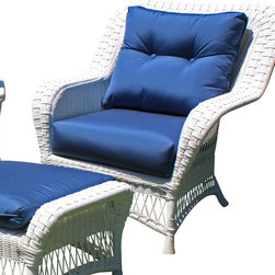Wicker Paradise - Princeton Wicker Lounge Chair - White - Lazy summer afternoons are a lot more relaxing when you have a chair like this one. The classic lines and white color give this lounge chair a contemporary charm that works in a historic home or a modern-day cottage. The Princeton chair comes with bottom and back cushions in Sunbrella Sapphire Blue fabric. Ottoman sold separately.