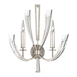 Fine Art Lamps - Vol de Cristal Sconce, 796850ST - This stunning sconce is the wall-mounted version of its sister Vol de Cristal chandelier. It's perfect for adding a sleek and sophisticated touch to a hallway or modern fireplace. The metal wings guide your eyes up to a cluster of tapered beveled crystals and two silver-leaf candles. You will surely delight in the sparkling cast of light it shines on your wall.