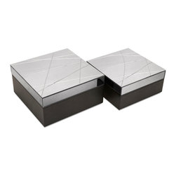 Modern Chic Storage Boxes - Set of 2 - Corner office chic: A pair of suede-lined, leather look storage boxes in black with contemporary glass tops lets them know have the confidence to stand out.