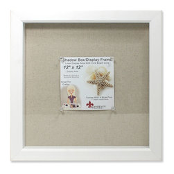 "Lawrence Frames - 12x12 White Shadow Box Frame - Linen Inner Display Board - White shadow box composite frame is made with a 1 1 8"" wide gallery molding that is 1 3 4"" deep which provides ample space to place items inside. There is 1"" of space between glass and beige linen display area. Under linen display area is corkboard for easy stick pin attachment of ribbons, photos, small items...etc. Comes with 4 clear stick pins. If you prefer, you can easily cover linen with your own fabric or paper. Frame is constructed with quality in mind, and is easy to open and arrange items inside.  Comes with glass cover (That can easily be removed for an open shadowbox) and is individually boxed. Can stand on it's own on a tabletop, and has hanging hardware attached for easy wall mounting either vertically or horizontally."