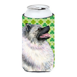 Caroline's Treasures - Keeshond St. Patrick's Day Shamrock Portrait Tall Boy Koozie Hugger - Keeshond St. Patrick's Day Shamrock Portrait Tall Boy Koozie Hugger Fits 22 oz. to 24 oz. cans or pint bottles. Great collapsible koozie for Energy Drinks or large Iced Tea beverages. Great to keep track of your beverage and add a bit of flair to a gathering. Match with one of the insulated coolers or coasters for a nice gift pack. Wash the hugger in your dishwasher or clothes washer. Design will not come off.