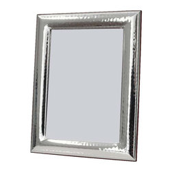 """Silverstar International - 5""""x7"""" Millennium Sterling Silver Photo Frame - Affordable & stylish, our fifth wedding anniversary picture frame features a lightly hammered Millennium bi-laminated picture frames to captivates the attention of guests and is the right choice for any home dcor and interior home decoration. Featuring two alluring beaded bands on the interior and exterior border, Silverstar International's bi-laminated 925 Sterling Silver picture frame is meticulously manufactured to an aluminum base for strength & attached to a veneer mahogany wooden back and easel."""