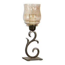 Uttermost - Set of 2 Uttermost Antiqued Bronze Sorel Candle Holders - Hand forged metal finished in antiqued bronze with a transparent, copper brown glass globe. White candles included.
