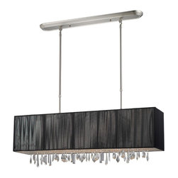 Four Light Brushed Nickel Nylon Black Shade Island Light - Beautiful black ribbons surround this elegant rectangular fixture, which is suspended from telescoping finished in brush nickel hardware, to ensure the perfect height. In contrast, solid glittering crystals hang from the bottom of this fixture to add additional beauty to an already beautiful fixture