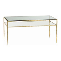 Arteriors - Arteriors 4102 Dean Cocktail Table - Arteriors 4102 Dean Cocktail Table made with Gold Leafed Iron/Clear Glass/Plain Mirror.