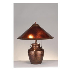"Meyda Tiffany - Meyda Tiffany 77774 Craftsman / Mission Accent Table Lamp Arts & Crafts - 19"" H Amber Mica Table LampIn The Tradition Of American Master Craftsman Dirk Van Erp, This Appealing Copper Frame With A Hand Washed Patina, Glows With The Warmth Of The Natural Amber Mica2 60w max medium base bulbs (Not Included)"