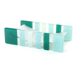 Gedy - Light Blue or Green Glass/Aluminum Soap Holder, Light Blue - Modern and unique green or light blue and white glass square countertop soap holder.