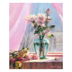 Steve Henderson Fine Art - Morning's Glory Artwork -- Original Oil Painting - Original oil painting on panel, 20 inches high x 16 inches wide. With gold-colored wood frame -- included with purchase -- finished hanging size is 26 x 22. This is the original oil painting of a licensable work.
