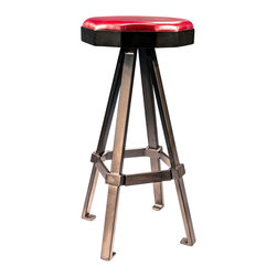 "American FABHOUSE - Decagon Bar Stool - This asymmetrical decagon-shaped barstool top intrigues with its angular lines and unique robotic qualities. Tubular steel legs, finished in powder coated steel in black bronze, are accented with solid hand-made knuckles and bars serving as a footrest. The stool is topped with a 1"" lux foam top covered by durable leather and protected by a 2"" steel band. Classic design meets erector set!"