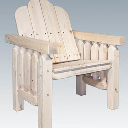 """Montana Woodworks - Homestead Deck Chair, Clear Exterior Finish - From Montana Woodworks, the largest manufacturer of handcrafted, heirloom quality rustic furnishings in America comes the Homestead Collection line of furniture products. Handcrafted in the mountains of Montana using solid, American grown wood, the artisans rough saw all the timbers and accessory trim pieces for a look uniquely reminiscent of the timber-framed homes once found on the American frontier. Add the beauty of rustic furniture to your deck or patio with this delightful deck chair. You are sure to spend hours unwinding and watching the sun set from this elegant piece. This durable chair will last for generations to come. Using the tried and true method of mortise and tenon joinery, the artisans at Montana Woodworks assemble each piece by hand. Some assembly required. 20-year limited warranty is included at no additional charge. Hand Crafted in Montana U.S.A.; Solid, U.S. grown wood; Timbers and Trim Pieces are Sawn Square for Rustic Timber Frame Design Appearance; Heirloom Quality; 20 Year Limited Warranty; Durable Build, Fit and Finish; Each Piece Signed By The Artisan Who Makes It; Solid genuine lodge pole pine. Dimensions: 30""""W x 30""""D x 37""""H"""
