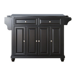 Crosley - Cambridge Solid Black Granite Top Kitchen Island in Black Finish - Constructed of Solid Hardwood and wood veneers, this kitchen island is designed for longevity. The Beautiful raised panel doors and drawer fronts provide the ultimate in style to dress up your kitchen. Two deep drawers are great for anything from utensils to storage containers. Behind the four doors, you will find adjustable shelves and an abundance of storage space for things that you prefer to be out of sight. Style, function, and quality make this kitchen island a wise addition to your home.