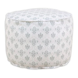 Chooty & Co. Madison Twill Corded Beads Hassock - Bella / Storm - Soft, stylish, and easy to love are the best words to describe the Chooty & Co. Madison Twill Corded Beads Hassock - Bella/Storm, which features a charming color combination. This adorable cushion makes quite the decor statement in dorm rooms, apartments, and bedrooms alike, with it's intricate pink and gray baroque pattern and design details like corded edges. Made of 100% cotton and filled with EPS stryofoam beads for a piece that's as light and easy as marshmallow fluff.About Chooty & Co.A lifelong dream of running a textile manufacturing business came to life in 2009 for Connie Garrett of Chooty & Co. This achievement was kicked off in September of '09 with the purchase of Blanket Barons, well known for their imported soft as mink baby blankets and equally alluring adult coverlets. Chooty's busy manufacturing facility, located in Council Bluffs, Iowa, utilizes a talented team to offer the blankets in many new fashion-forward patterns and solids. They've also added hundreds of Made in the USA textile products, including accent pillows, table linens, shower curtains, duvet sets, window curtains, and pet beds. Chooty & Co. operates on one simple principle: What is best for our customer is also best for our company.