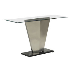 Homelegance - Homelegance Silverstone Rectangular Glass Sofa Table with Brushed Chrome Base - The stylized conical pillar that supports each of glass topped tables in the Silverstone collection is paying homage to futuristic contemporary design. All pieces in this modern occasional group rise from rectangular black bases. Minimalist without looking fragile, the collection will blend with your contemporary decor.