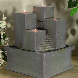 Outdoor Classics - Tealight Pillar Tabletop Fountain -