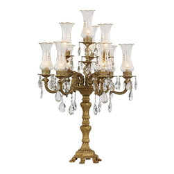 Trans Globe Lighting - Trans Globe Lighting JA-10TL BGO Victorian Etched Glass Traditional Table Lamp - Etched glass hurricane shades. Made of heavy cast metal. Crystal beads. Copper finish. 3 tier chandelier table lamp.