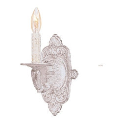 Crystorama - Crystorama Paris Flea Market Wall Sconce X-WA-1115 - This Antique White finished wall sconce from the Paris Flea Market collection captures the energy of the Paris Flea Market and transfers it to wrought iron frame work and creates casual yet elegant lighting