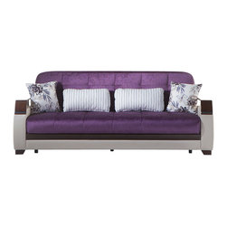 Istikbal - Natural Modern Sofa Sleeper in Prestige Purple - Natural is a sure bet to achieve a minimalist modern look in your living room. Leatherette arms and base, wood armrests with chrome ornaments are the basic building blocks for the style of this Natural Modern Sofa Sleeper in Prestige Purple. Sink into comfort and deep relaxation with the Natural Collection. Contemporary upholstery comes with exclusive tailoring and fine detailing.