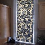 Custom shades - Custom made flat roman shade in a bold blue and cream paisley pattern