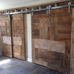Reclaimed Barn Door Design Ideas from Projects in NYC, New Jersey & Connecticut - Custom Reclaimed Sliding Barn Doors made from Barn Wood and Wood Tiles for this Custom Closet