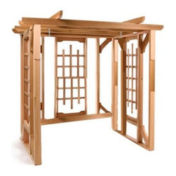 All Things Cedar Classic Cedar Pergola Swing Stand - Romantic charming and perfect for your backyard. The Cedar Pergola Swing Stand features a trellis design and will create a cozy haven for your 4-foot swing. Grow ivy and other vines on this swing stand for the ultimate romantic backyard location. Hanging hooks are included. Crafted from solid clear grain Western Red Cedar this stand naturally resists rot decay and insects. If left unfinished it will weather to an attractive silver-gray patina. This stand arrives in three pre-assembled lattice panels. The beams are pre-drilled for quick and easy assembly. Fully illustrated instructions are included for guidance.Recommended with a 4 foot porch swing Place your order for the romance and durability of the Cedar Pergola Swing Stand today.About All Things CedarA world leader in fine patio furniture garden furniture and other accessories All Things Cedar is a smart choice for your outdoor needs. They offer an extensive line of unique items made from high-quality weather-resistant woods including clear-grade cedar teak and more. Their items are designed with care in timeless fashions that are sure to enhance your space. All Things Cedar prides themselves on fine customer service and dependable products.