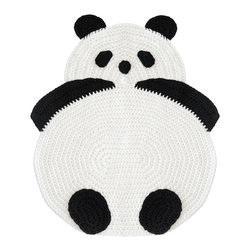 Peanut Butter Dynamite - Crochet Panda Rug - Desmond the Panda is one of Peanut Butter Dynamite's hand crafted crochet rugs that is also soft enough to use as a blanket. Whether you place him by your bedside or have him compliment a playroom, he is a prefect addition to any home.