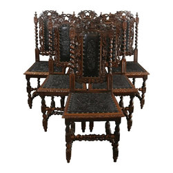 EuroLux Home - 6 Rare Consigned Antique Dining Chairs 1880 French - Product Details