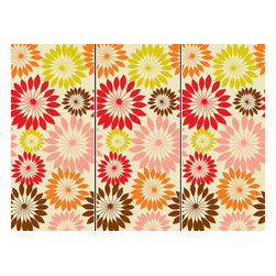 """WallPops - Carnival Wall Art Decal Kit - WallPops Carnivale wall art kit features 3 panels for an impressive display on the wall. These peel and stick decals create a colorful focal point bursting with modern flowers in a fun retro color scheme. Carnivale Kits are printed on three 17 1/4"""" x 39"""" sheets, and contains 3 pieces. Carnivale Kits are repositionable and totally removable."""