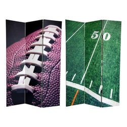 Oriental Furniture - 6 ft. Tall Double Sided Football Canvas Room Divider - Evoke the glory of the gridiron with two classic American Football images. On the front is a cropped, close-up photo featuring the laces and chocolate brown surface of a football ready for kickoff. On the back is the mid-point of the  battlefield : The 50 yard line, in a vibrant sea of green. These attractive sports images will provide you with beautiful decorative accents perfect for your clubhouse, TV / entertainment room, living room or bedroom. This three panel screen has different images on each side, as shown.