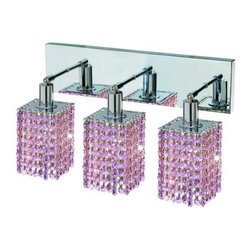 "PWG Lighting / Lighting By Pecaso - Wiatt 3-Light 14.5"" Crystal Vanity Fixture 1091W-O-S-RO-SS - Whether shown individually or as a collection, our Mini Crystal Chandeliers are stunning in any fashion. This stylish collection offers stunning crystal in a range of colorful options to suit every decor."