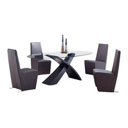 Global Furniture USA - DG018DT + D105DC-BR Black Veneer & PVC Five Piece Dining Set - This contemporary dining set is a great addition to any decor that needs a touch of modern design. The centerpiece of this set is the glass top table with an interesting design, an X shaped base in a wenge finish. The brown dining chairs in this set match nicely, giving the set a unique style with warm matching colors. These chairs come upholstered in a beautiful brown leatherette material. This Dining Room Set is constructed of high quality wood veneers, glass and leatherette. The dining set includes the dining table and four chairs only.