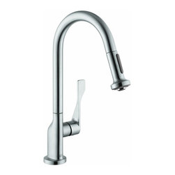Hansgrohe - Hansgrohe 39835801 Axor Citterio Pull Out Kitchen Faucet in Steel Optik - Pull Out Kitchen Faucet in Steel Optik belongs to Axor Kitchen Collection by Hansgrohe Antonio Citterio pays tribute to the element of water with a particularly elegant, minimalist collection. Axor Citterio lets us truly enjoy the time we spend in the bathroom. With his most precisely formed surfaces and edges and his beautiful details, the richness of which becomes clear on a second glance. In a bathroom in which living and rejuvenation are intentionally cultivated.  Faucet (1)