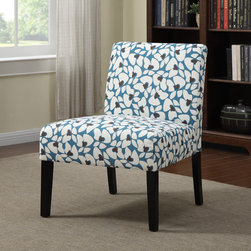 PORTFOLIO - Portfolio Niles Caribbean Blue Modern Floral Armless Accent Chair - The Portfolio Niles armless chair features a gently tapered back and deep seat cushion for extraordinary comfort. The Niles chair is a small scale chair offering generous seating comfort and is covered in a modern floral pattern fabric.
