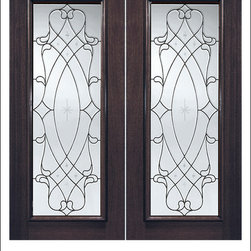 Exterior and Interior Beveled Glass Doors Model # 912 - Our Beveled Glass Doors are made of individually hand cut glass put together with metal caming.  Doors triple glazed (three pieces of glass) for insulation and they are easy to clean with a smooth surface.  Doors are available in a variety of sizes and styles. The door is constructed from FSC Brazilian Mahogany.  Interior versions of these doors are available in our Decorative Glass Doors under the interior doors category.