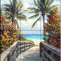 The Tile Mural Store (USA) - Tile Mural - Beach Access - Kitchen Backsplash Ideas - This beautiful artwork by Laurie Snow Hein has been digitally reproduced for tiles and depicts the beach path.  Beach scene tile murals are great as part of your kitchen backsplash tile project or your tub and shower surround bathroom tile project. Waterview images on tiles such as tiles with beach scenes and sunset scenes on tiles.  Tropical tile scenes add a unique element to your tiling project and are a great kitchen backsplash  or bathroom idea. Use one or two of our beach scene tile murals for a wall tile project in any room in your home for your wall tile project.