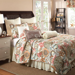 None - Brushed Ashore 3-piece Quilt Set and Bedskirt,Euro Sham Separates - This three-piece cotton quilt set provides the bedroom with a tropical feel. The option is available to purchase a matching bedskirt or euro sham separately.