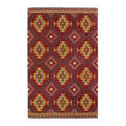 Kaleen - Kaleen Global Inspirations Collection Glb07-25 2'X3' Red - The Global Inspirations collection brings you beautiful motifs influenced by d_cor from all over the world. You no longer need to wander the streets of Europe or Asia looking for that hidden gem, our Global Inspirations collection found it for you!  Each rug is hand-tufted in India from 100% of the very finest wool, to achieve today's hottest worldly designs and patterns.