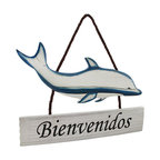 `Bienvenidos` Spanish Language Dolphin Welcome Plaque Sign Ocean Beach - This beautiful wooden dolphin welcome plaque is a great addition to any Spanish speaking home. It features the word `Bienvenidos`, Spanish for Welcome, on a weathered board underneath the hand-painted dolphin. Measuring 11 inches tall, not including the rope hanger, 16 inches wide, and an inch deep, it has a brown nylon rope hanger, and hangs from a single nail or screw.