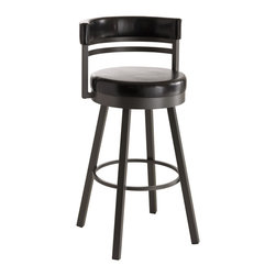 Amisco - Amisco Ronny Upholstered Back Swivel Stool 41442, 26 Inches (Counter Height) - Amisco