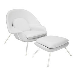 """Modway - W Lounge Chair in White - Concerted efforts run deep in the expansively designed W Chair. First intended as a chair you """"can curl up in"""" it has since become a symbol for organic living. The natural motif portrays growth amidst silent resolve. Perhaps this is what makes the Womb both a reception and a lounge chair. Each of us would like to find our place as it were. Whether this means feeling welcomed in by the reception halls of businesses, or feeling welcome to relax into our own homes. While mid-century modernism showed us how to embark into the age of discovery, this finely upholstered classic taught us how to contemplate upon it. The shell of the W chair is made of molded fiberglass with foam padding. The legs are stainless steel and come with foot caps to prevent scratching on floors. Set Includes: One - Matching Ottoman. One - W Lounge Chair. Upholstered in Fine Leather; Stainless Steel Frame; Reinforced Fiberglass Shell; Chair Dimensions: 38""""L x 38.5""""W x 35""""H; Ottoman Dimensions: 22""""L x 25""""W x 18""""H; Seat Height: 16.5 - 17""""H; Armrest Height: 22""""H; Overall Product Dimensions: 60""""L x 38.5""""W x 35""""H."""