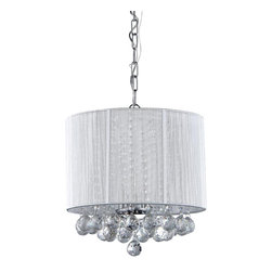 Warehouse of Tiffany - Platter Crystal Chandelier - Add some elegance to your home with this Platter Crystal Chandelier. This dynamic lighting element features generous rows of cascading crystals to catch the light. Setting: IndoorFixture finish: ChromeNumber of lights: Three (3)Requires three (3) bulbs x 60 wattsDimensions: 16 inches wide x 16 inches high x 11 inches lengthAssembly required.This fixture does need to be hard wired. Professional installation is recommended.CSA Listed, ETL Listed, UL Listed