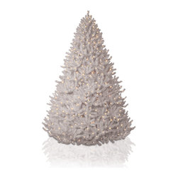 "Balsam Hill - 9' Balsam Hill® Pikes Peak White Pre-Lit Artificial Christmas Tree - Our Pikes Peak White artificial Christmas tree is unlike most artificial white Christmas trees b/c it has Pine Needle foliage that mimics natural pine needles. Its needles are so realistic that if you roll them in your fingertips, you will feel the same texture as real pine needles, but without the sap! This 7.5 foot pre-lit easy setup tree will sparkle and dazzle with its Clear warm glow lights. Also included with this tree is a scratch-proof tree stand w/ rubber feet, soft cotton gloves for shaping the tree, storage bags, extra bulbs and fuses, and an on/off foot pedal. As the best artificial Christmas tree manufacturer that is the #1 choice for set designers for TV shows such as ""Ellen"" and ""The Today Show"", in addition to being a recipient of the Good Housekeeping Seal of Approval, our trees are backed by a 5-year foliage warranty and a 3-year light warranty. Free shipping when you buy today!"