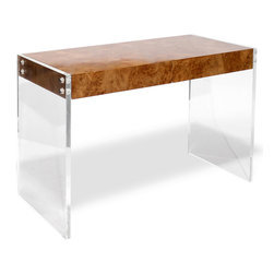 """Jonathan Adler - Jonathan Adler Bond Desk - Tough in style and easy on the eye, the Bond desk measures up to its iconic, suave namesake. Jonathan Adler partners lucite and burled wood for a touch of glamour to its minimal modern lines. 45""""W x 20""""D x 31""""H; Pieced burled wood, lucite, stainless steel; 2 utility drawers, metal glides; Pieced burled wood drawer interior"""