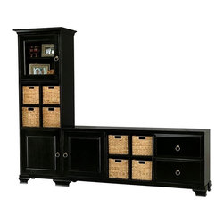 Howard Miller Custom - Hanna cabinet w 2 Panel Drawers in Antique Black - This cabinet is finished in Antique Black on select Hardwoods and Veneers, with Antique Brass hardware. Console:. 1 beveled panel door and 2 drawers with raised panels. 1 adjustable interior shelf and 1 cross storage shelf with 4 small woven baskets. Tower:. 1 beveled panel door and 1 door with beveled Glass. 1 cross storage shelf and 4 small woven baskets. 2 adjustable interior shelves. Flat profile top on console, cove profile top on tower, and Ogee profile base. Hardware: ring pulls on doors and drawers. Features soft close doors, metal drawer glides, and metal shelf clips. Simple assembly required. Console: 70 1/4 in. W x 15 3/4 in. D x 29 in. H. Tower: 24 3/4 in. W x 15 3/4 in. D x 76 1/2 in. H