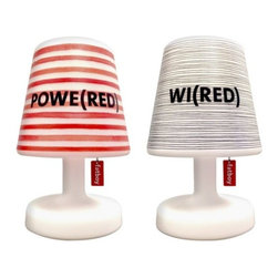 "Fatboy - FATBOY(RED) Cooper Cappie and Fatboy Edison the Petit by Fatboy - Shine a light of hope with the FATBOY(RED) Cooper Cappie and Fatboy Edison the Petit. These two special edition pieces include the ever-popular Edison the Petit lamp together with a removable Cooper Cappie lampshade with eye-catching stripes and a unique name inspired by the (RED) organization. 10% of the proceeds from the sale of each lamp will go to the Global Fund to fight AIDS. In 1988, Dutch designer Jukka Setala came up with an ingenious way to make the bean bag chair much more luxurious, durable and adaptable than its 1970s ancestor. Fast forward to 2002, when Alex Bergman adopted Setala's idea of the modern lounge chair and launched ""Fatboy the Original."" Fatboy now offers a range of fun and functional modern accessories and pet beds."